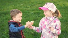 吃在有机eco农场的领域的逗人喜爱的小女孩和男孩画象家庭焙制的面包 拿着大面包的孩子 影视素材