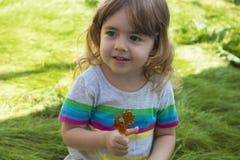 吃在背景的小俏丽的女孩焦糖棒棒糖绿草和微笑 免版税库存照片