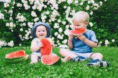 吃在自然的滑稽的孩子西瓜在夏天 免版税库存照片