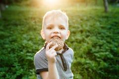 吃在自然背景的孩子曲奇饼 免版税库存照片