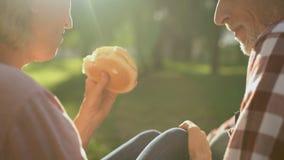 吃在野餐,浪漫日期,特写镜头的女性和男性领抚恤金者汉堡 股票录像