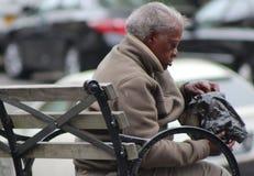 吃在长凳的妇女 图库摄影