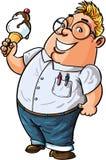 吃大冰淇凌的逗人喜爱的动画片书呆子 免版税库存图片