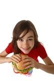 吃女孩健康三明治年轻人 免版税库存照片