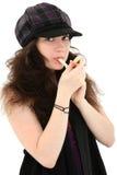 吃女孩字符串的有吸引力的干酪青少&# 免版税库存图片