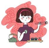 吃女孩寿司 免版税库存图片