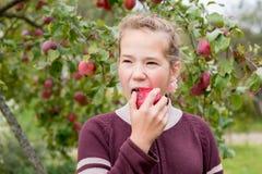吃女孩的苹果 库存图片