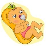 吃女孩的婴孩动画片一点膳食时刻 免版税库存图片