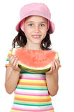 吃女孩西瓜 免版税库存照片