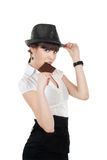 吃妇女年轻人的巧克力 库存照片