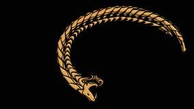 吃它的尾巴的古老蛇的Ouroboros标志 向量例证