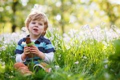 吃巧克力兔宝宝的逗人喜爱的愉快的小男孩复活节假日 免版税库存照片