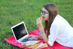 吃快餐和工作的本质的女孩在膝上型计算机 库存照片