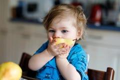 吃新鲜的梨的逗人喜爱的可爱的小孩女孩 拿着果子的一年的饥饿的愉快的小孩子 国内的女孩 图库摄影