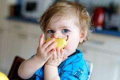 吃新鲜的梨的逗人喜爱的可爱的小孩女孩 拿着果子的一年的饥饿的愉快的小孩子 库存图片