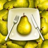 吃新鲜水果、健康饮食概念与叉子刀子和板材在堆梨 库存图片