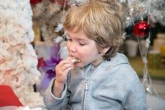 吃曲奇饼的小男孩在圣诞节 免版税库存照片