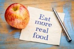 吃更加真正的食物提示笔记 库存图片