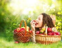 吃有机Apple的女孩在果树园 免版税库存图片