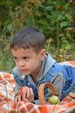 吃果子的愉快的孩子 吃苹果的愉快的逗人喜爱的儿童男孩 在一条床罩的谎言在秋天停放 库存照片