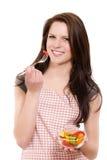 吃沙拉妇女年轻人 库存图片