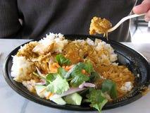 吃泰国的食物 免版税图库摄影