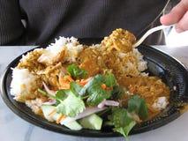 吃泰国的食物 免版税库存照片