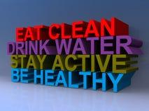 吃活跃干净的饮料水的逗留是健康的 库存例证