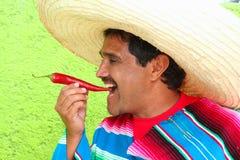 吃热人墨西哥雨披红色阔边帽的辣椒 图库摄影