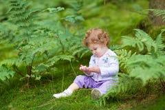 吃狂放的莓的滑稽的卷曲女婴在森林里 免版税库存照片