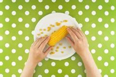 吃玉米玉米,顶视图的妇女 免版税图库摄影