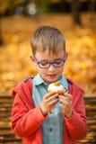吃甜杯形蛋糕的年轻男孩在秋天公园 图库摄影
