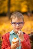 吃甜杯形蛋糕的年轻男孩在秋天公园 免版税库存照片