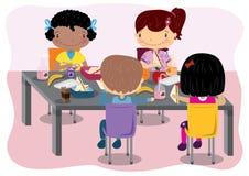 吃的孩子午餐 库存例证