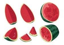 吃的西瓜果子新鲜红色美丽 向量例证
