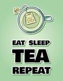 吃睡眠茶重复 杯绿茶 手拉的动画片样式逗人喜爱的滑稽的明信片 库存例证
