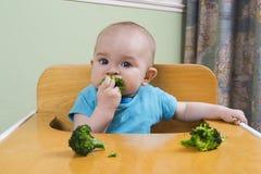吃硬花甘蓝的逗人喜爱的婴孩 库存图片