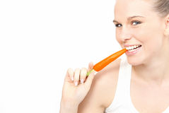 吃空白健康的牙 免版税库存照片