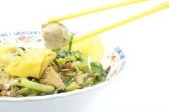 吃精加工白米汤面和素食主义者丸子 免版税库存照片