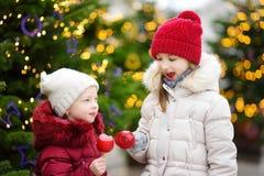 吃红色苹果的两个可爱的妹盖用在传统圣诞节市场上的糖结冰 免版税库存照片