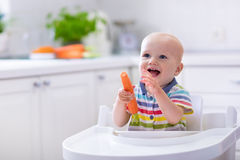 吃红萝卜的小婴孩 库存照片