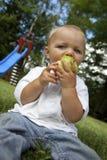 吃绿色公园年轻人的苹果男孩 免版税库存照片