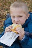吃肉馅饼 免版税库存图片
