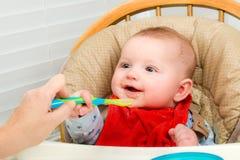 吃自创有机被制成菜泥的食物的婴孩 免版税库存图片