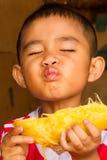 吃芒果 库存图片