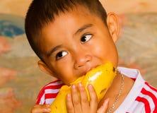 吃芒果 库存照片