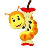 吃苹果动画片的蠕虫 向量例证