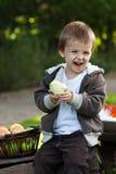 吃苹果的小男孩 免版税库存照片
