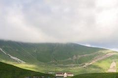 吃草与公羊和绵羊在山在路在乔治亚有薄雾的天空背景的 免版税库存照片