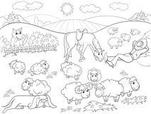 吃草与牧羊人和狗着色的绵羊儿童动画片传染媒介例证的 库存图片